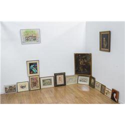 Group Lot of 15 Paintings, Prints, & Watercolors