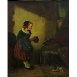 Josef Haier, Young Girl Feeding Kittens