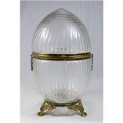 Egg Shape Glass & Brass Box