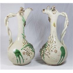 Matched Pair of Hungarian Glazed Ceramic Ewers