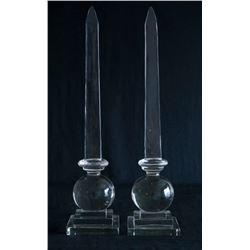 Pair Large Glass Obelisks