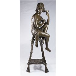 Bronze Sculpture of Lady Sitting on Chair