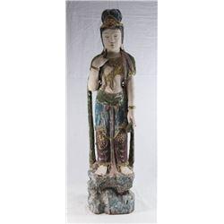 Painted Wood Guan Yin