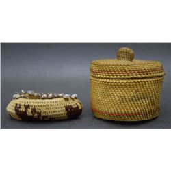 TWO MAKAH AND POMO BASKETS