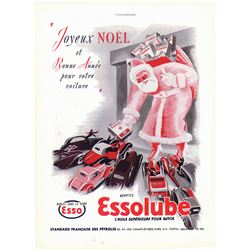 Old ESSO ESSOLUBE French Ad - Giant Santa Stops Traffic