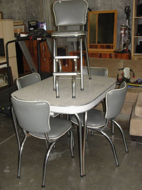 1950s Retro Chrome And Grey 6pc Kitchen Table Set Kitchen With 4 Chairs And Matching Step Stool