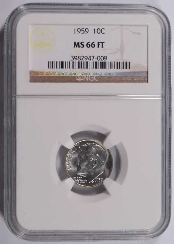 Image 1 1959 ROOSEVELT DIME NGC MS 66 FULL TORCH