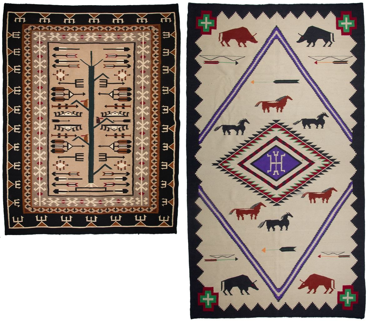 Image 1 : Two Mexican Weavings - Navajo Style Rugs ...