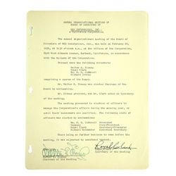 Walt Disney Signed WED Enterprises Document