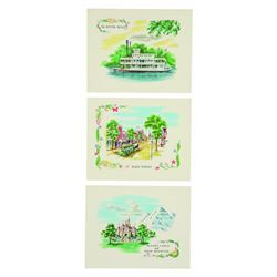 Disneyland (3) Pre-opening Hallmark Notecards