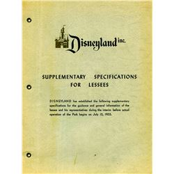 Disneyland Pre-opening Supplementary Specifications for Lessees booklet, 1955 - 7 pages
