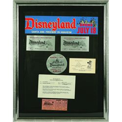 Rare Disneyland Opening Day Tickets, parking pass, and Bumper Sticker