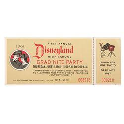 1st Annual Disneyland grad night party ticket stub.