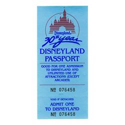 Disneyland 30th anniversary complimentary ticket
