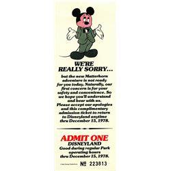 "Rare Disneyland ""Rain Check"" Ticket"