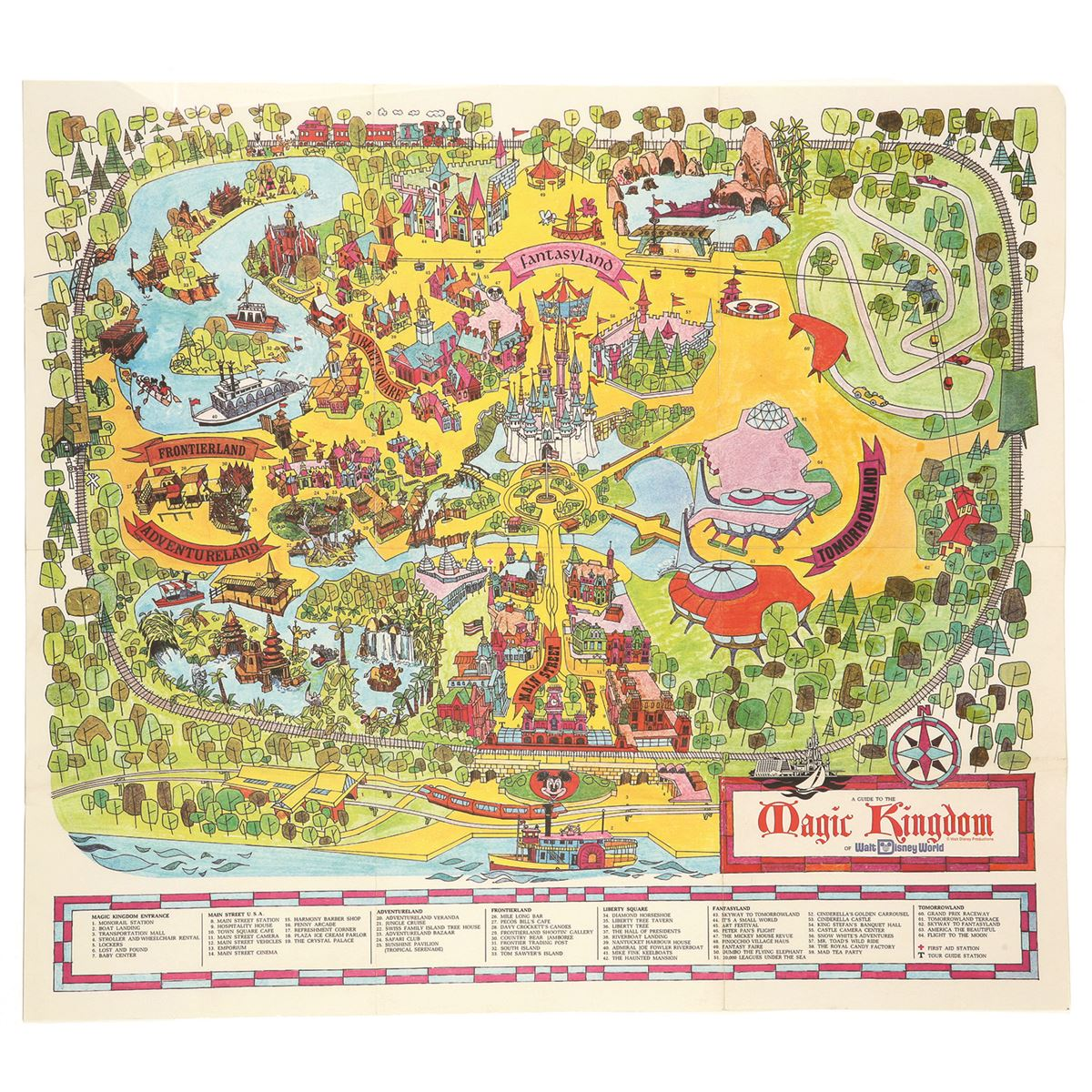 Map of Walt Disney World\'s Magic Kingdom, 1971 (first map of WDW)