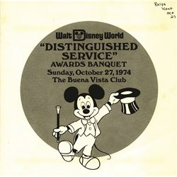 Walt Disney World Distinguished Service Awards Banquet Program 1974.