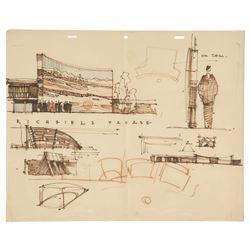 Herb Ryman Original Richfield Oil Display Concept with Correspondence