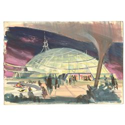 Original Space Mountain Concept Painting by Clem Hall.