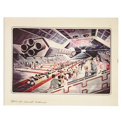 Original Space Mountain Concept Drawing by Clem Hall.