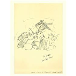 SIGNED AL BERTINO DRAWING OF RABBITS FROM THE DISNEYLAND AMERICA SINGS ATTRACTION.