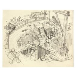 Original Big Thunder Railroad Concept Drawing by Clem Hall.