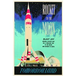 Original Disneyland  Rocket to the Moon Attraction Poster.