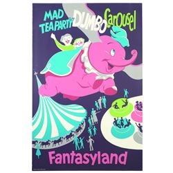 Original Disneyland Dumbo, Mad Tea Party, and Carousel Attraction Poster.