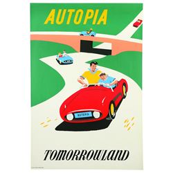 Original Disneyland Autopia Attraction Poster.