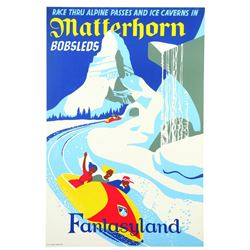 Original Disneyland Matterhorn Bobsleds Attraction Poster.