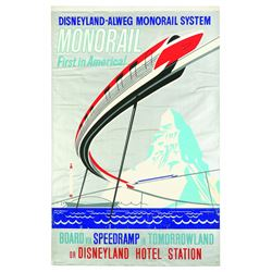Rare Original WED Enterprises Disneyland Monorail attraction poster.