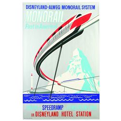Original Disneyland Alweg Monorail  Attraction Poster.