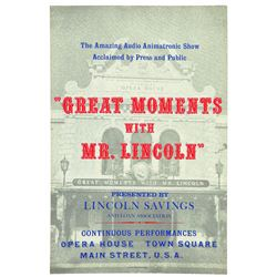 Original Disneyland Great Moments with Mr. Lincoln Attraction Poster.