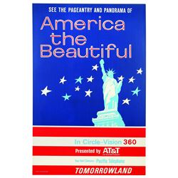 Original Disneyland America The Beautiful Attraction Poster.