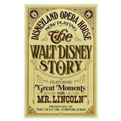 Original The Walt Disney Story featuring Great Moments with Mr. Lincoln Attraction Poster