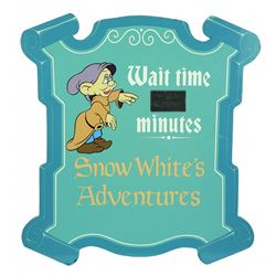 "Walt Disney World Snow White's Adventures ""Wait Time"" Sign ."