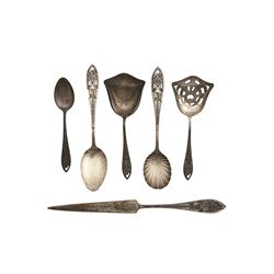 Set of  (5) early Sterling Silver Spoons