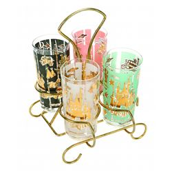 Disneyland drinking glass set of (4) with glass holder
