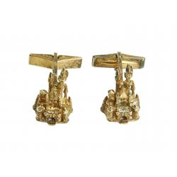 Set of Sterling Disneyland Castle Men's Cuff Links