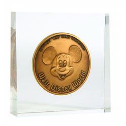 Walt Disney World Grand Opening Commemorative Medallion in Lucite Block
