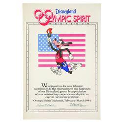Oversized Disneyland Certificate, Olympics