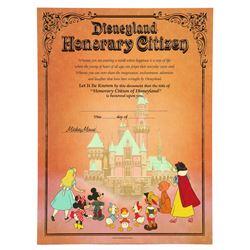 Disneyland Honorary Citizen Certificate