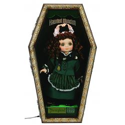 Haunted Mansion female doll in costume and pin lanyard by Marie Osmond. In custom, lighted shadowbox