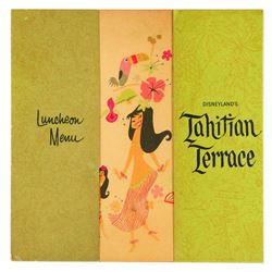 "Souvenir Tahitian Terrace Luncheon Menu, 1960's. 5"" x 8.5"" open. Good condition with extensive age t"
