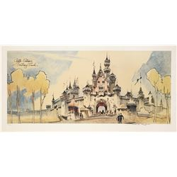 Herb Ryman Signed Sleeping Beauty Castle Lithograph.