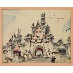 Signed Herb Ryman Sleeping Beauty Castle Lithograph.