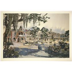 "Signed Herb Ryman ""New Orleans Square, General View""  Lithograph"