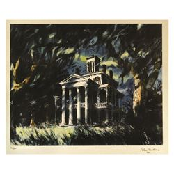 Sam McKim signed Haunted Mansion Lithograph.