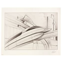 Bob Gurr Signed  Limited Edition Monorail Lithograph
