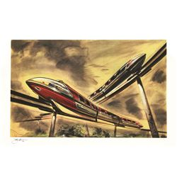 "John Hench signed Limited Edition ""Crossing Monorails"" Lithograph."